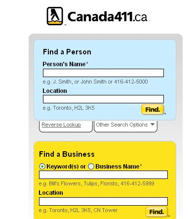 Canada 411 Address Canada 411 Find Business Travel Tips Food Hotels And