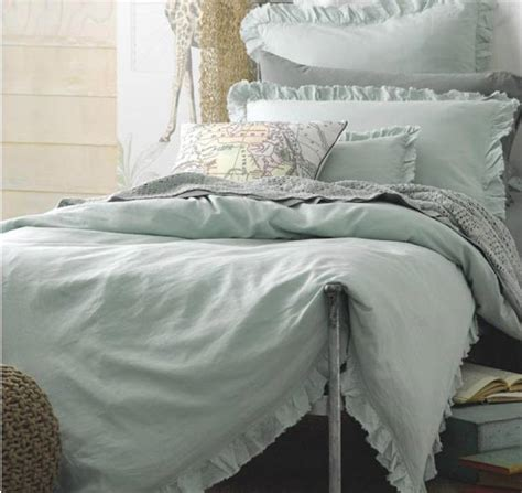 shabby mint green rags amp ruffles queen bed doona duvet quilt cover set chic new ebay