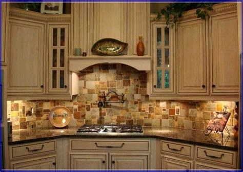 stone copper tiles backsplash tuscan kitchen stone
