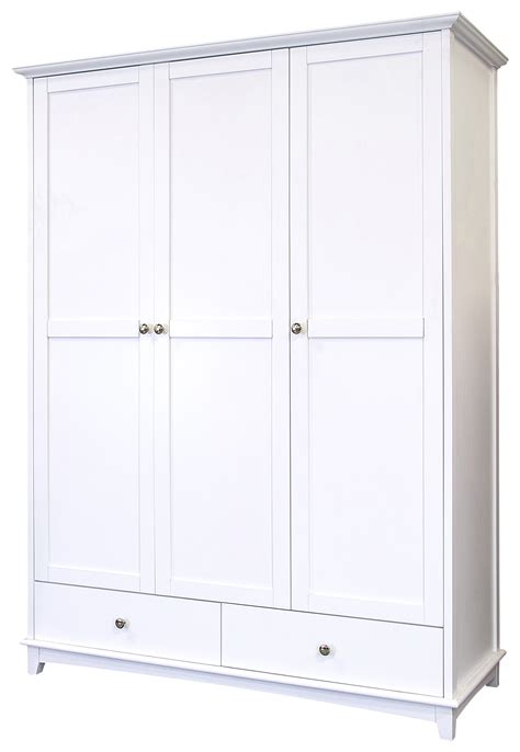 White Solid Wood Wardrobes - toulouse 3 door 2 drawer wardrobe white painted solid