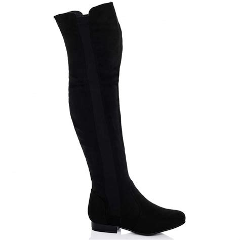 buy neptune flat stretch the knee boots black suede