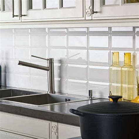 tile wall kitchen bevel brick white is a white gloss bevel edge wall tile by johnson tiles prefect as a kitchen