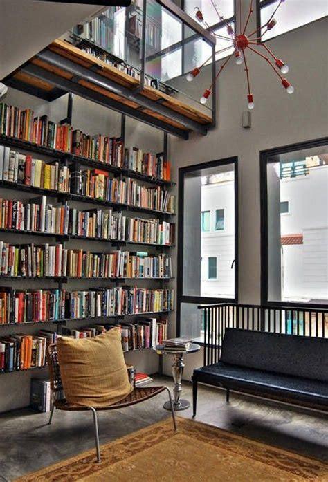 york city loft library bookshelves pinterest