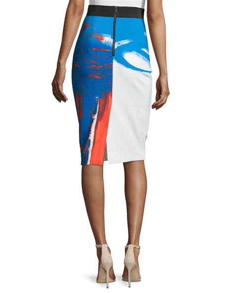 milly modern abstract pencil skirt lyst