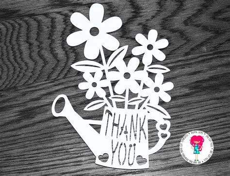 thank you card template cricut thank you flower paper cut template svg cutting file for