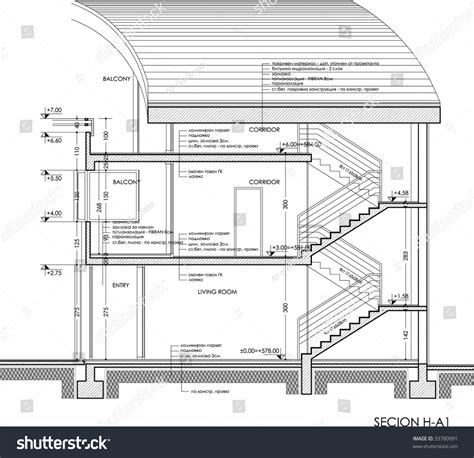 Plan Section Drawing by Section Drawingthe Plan Can Be Found Stock Vector 33780991