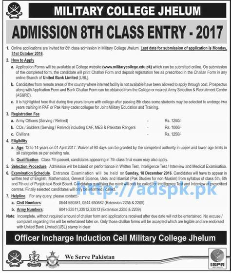 2016 applicant profiles and admission results physics how to apply online military college jhelum admissions 8th
