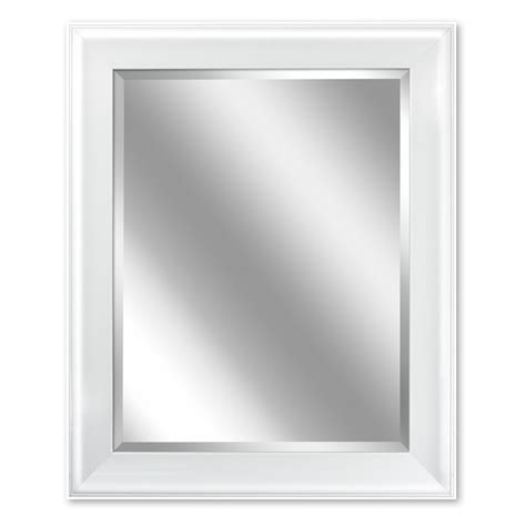 White Framed Mirrors For Bathrooms Shop Allen Roth 24 In X 30 In White Rectangular Framed Bathroom Mirror At Lowes