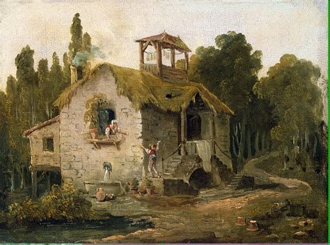 the cottage painting cottage in the forest painting hubert robert