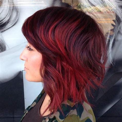 burgundy highlights on shag haircuts 20 trendy shaggy bob haircuts
