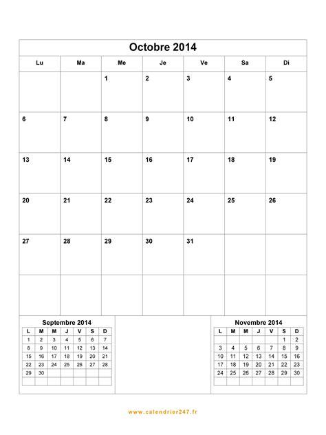 Calendrier Octobre 2014 Calendrier Octobre 2014 224 Imprimer Gratuit En Pdf Et Excel