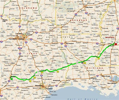 map texas and louisiana tx to warsaw in and back