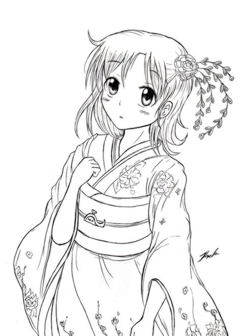 japanese girl kimono coloring page kimono aoi kyoko lineart by kxela coloring pages
