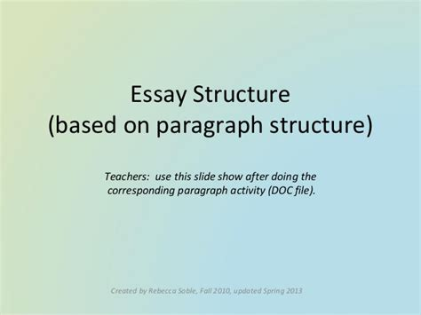 Introduction Essay Structure by Essay Structure Introduction