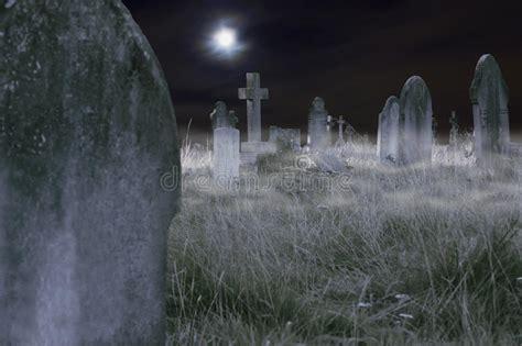 scary cemetery  night stock photo image  dark cross