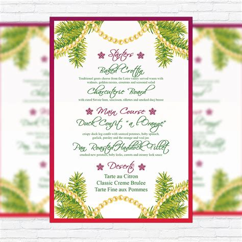 christmas menu vol 2 premium a5 menu template