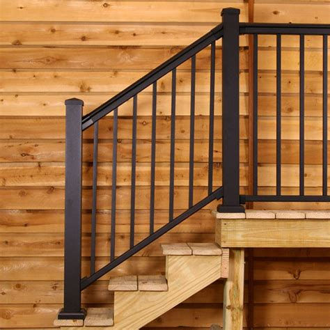 banister railing kits 100 series fixed stair railing by afco decksdirect com