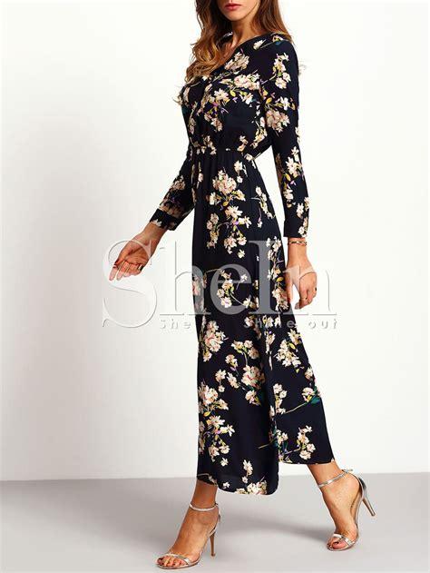 Sleeve Floral Dress sleeve floral maxi dress shein sheinside