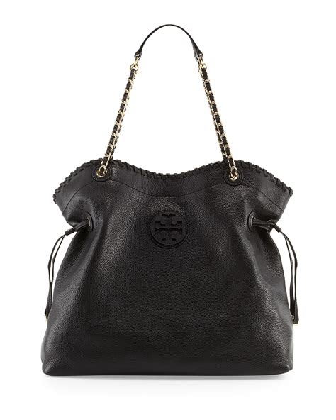Burch Stacked Small Satchel And Marion Drawstring lyst burch marion slouchy drawstring tote bag black in black