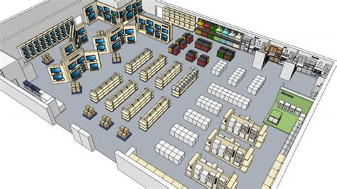 warehouse electrical layout electrical store shop floor layout 12 000 sq ft 3d