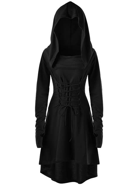 Sleeve Hooded Dress sleeve dresses black 2xl hooded high low lace up