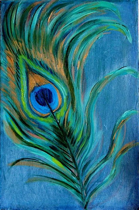 peacock feather original painting on canvas