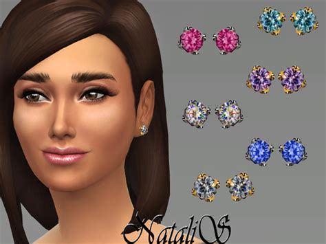 The Sims Resource: Crystal studs earrings 01 by NataliS
