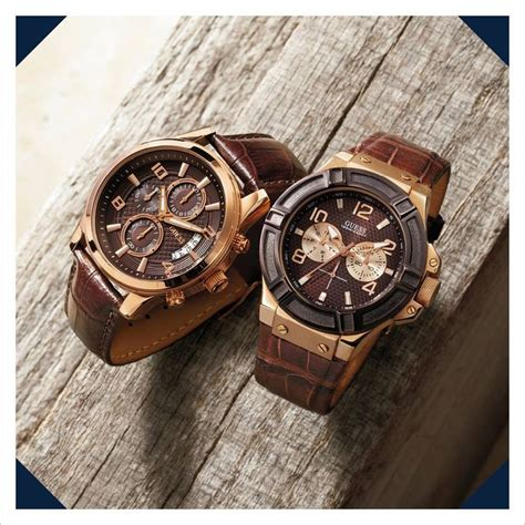 mens guess watches guess mens brown leather with gold watches these are handsome and stylish guesswatches