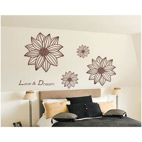 size wall stickers brown flower wall sticker 90x60cm size jm8225