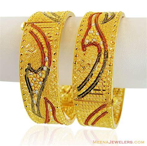 pattern of gold kada 22k beautiful wide kada baka15596 22k gold wide kada