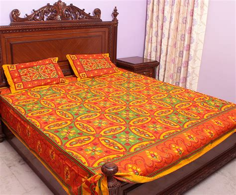 orange coverlets orange and green kantha stitch bedspread with printed palms