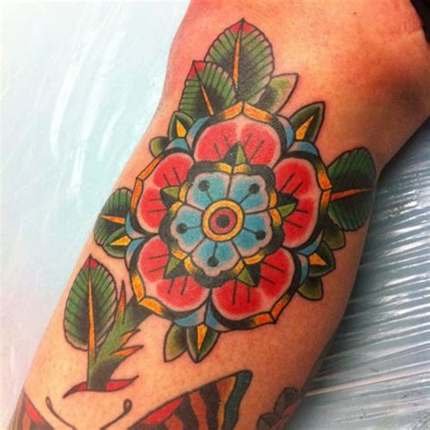 Tattoo Flower Old School | arm old school flower tattoo by ten ten tattoo