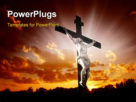 catholic powerpoint templates christian cross with jesus christ in beautiful sunrise