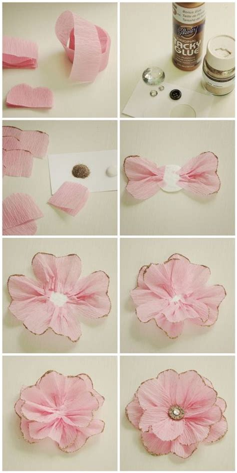How To Make Flowers Out Of Crepe Paper - sparkly crepe paper flower embellishment