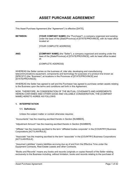 purchase of business agreement template free asset purchase agreement for a telecom business template