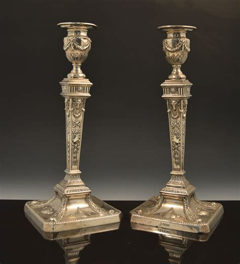 silver candlestick by loofs adam a pair of silver candlesticks in the style of robert adam