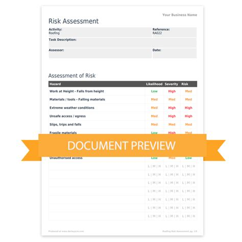 risk documentation template roofing risk assessment template darley pcm
