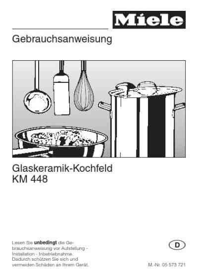 Backofen Ohne Kochfeld 366 by Miele Km 448kochfeld Deutsche Bedienungsanleitung