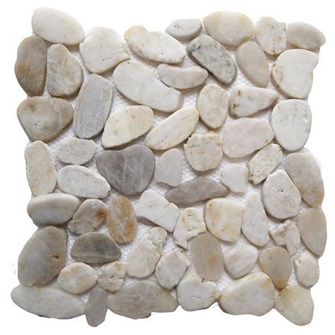 Indoor Rock Garden - islander white shell 12 in x 12 in sliced natural pebble stone floor and wall tile 20 1 007