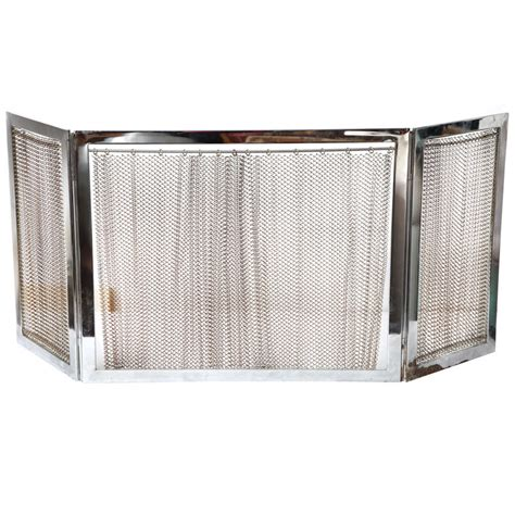 chrome and metal fireplace screen at 1stdibs