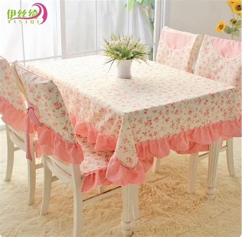 Taplak Meja Cover Galon Set Shabby Chic square pink floral tablecloth country style dining table