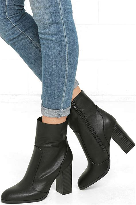 Mid Calf High Heel Boots chic black mid calf boots high heel boots vegan