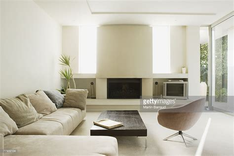 Big Modern Living Room by Modern Living Room With Large Fireplace Stock Photo