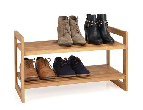 Single Shelf Shoe Rack by 2 Tier Bamboo Stackable Shoe Rack Finish Wire