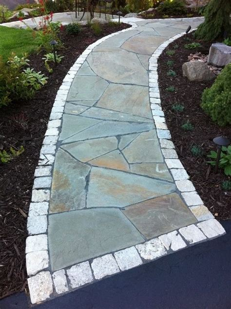Irregular Patio by Irregular Flagstone Front Walkway And Small Sitting Patio