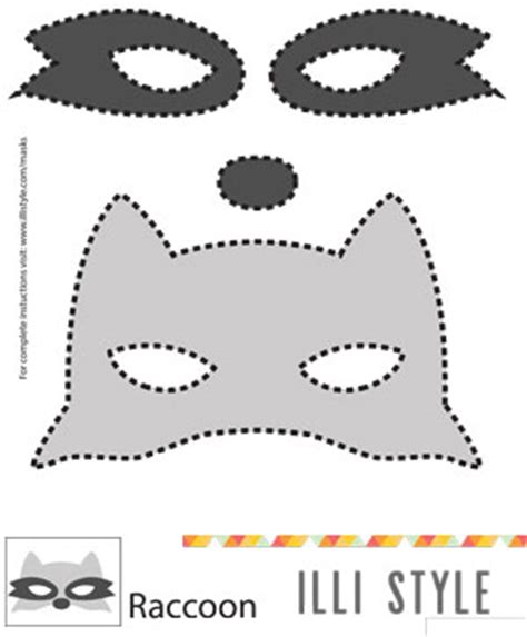 printable raccoon mask masks illistyle