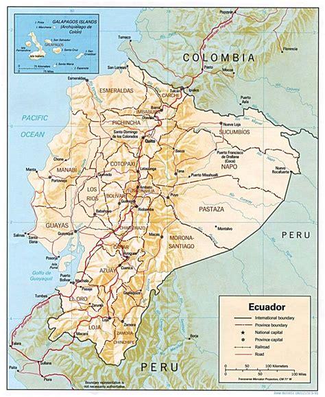 ecuador physical map ecuador physical map 1991 size
