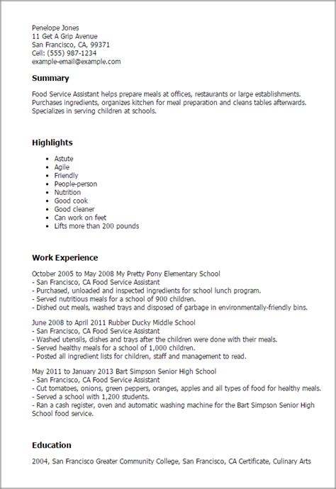 Food Service Resume Exles by Food Service Assistant Resume Template Best Design Tips Myperfectresume
