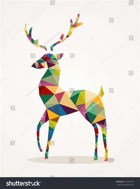 isolated merry christmas colorful abstract reindeer  geometric composition stock photo