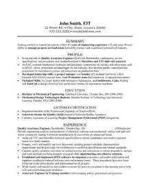 Quality Assurance Resume Exles by Quality Assurance Engineer Resume Sle Template